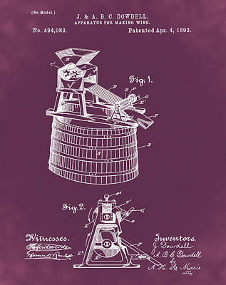 Apparatus For Making Wine Patent 1893 Red Poster by Bill Cannon
