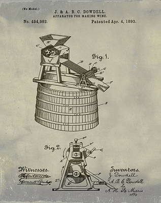 Apparatus For Making Wine Patent 1893 Vintage Poster by Bill Cannon