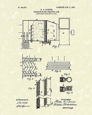 Poster featuring the drawing Apparatus For Treating Air 1906 Carrier Patent Art by Prior Art Design