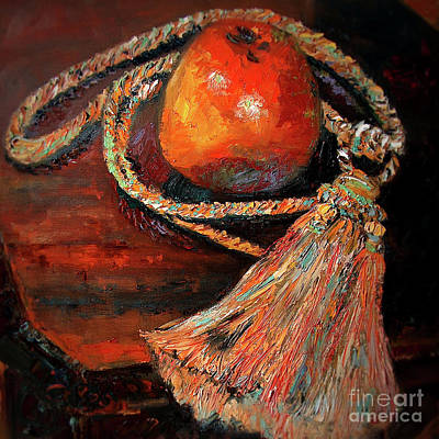 Poster featuring the painting Apple And Tassel Still Life Oil Painting by Ginette Callaway