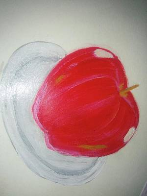 Apple In Plate Poster by Shweta Singh