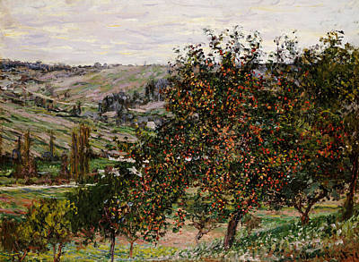 Apple Trees Near Vetheuil Poster by Claude Monet