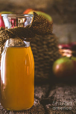Apple Vinegar On Wood Poster by Mythja Photography