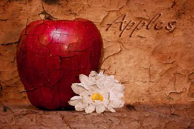 Apple With Daisy Poster by Tom Mc Nemar