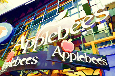Applebee's Restaurant Sign At New York City 42 St Poster by Lanjee Chee