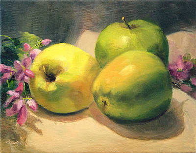 Poster featuring the painting Apples And  Blossoms by Vikki Bouffard