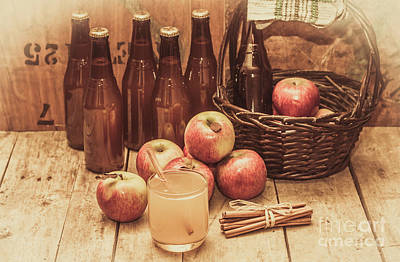 Apples Cider By Wicker Basket On Wooden Table Poster