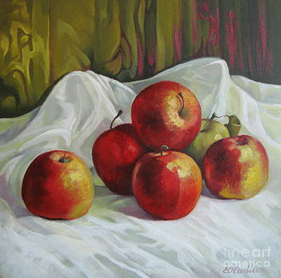 Poster featuring the painting Apples by Elena Oleniuc