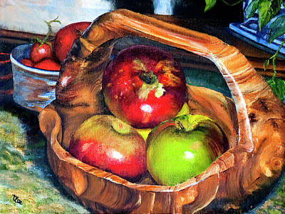 Apples In A Burled Bowl Poster