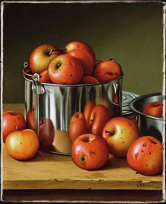 Apples In A Tin Pail Poster by Levi Wells
