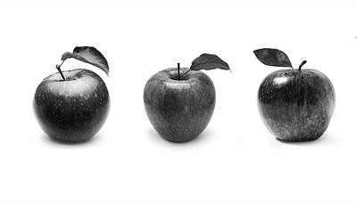 Apples In Black And White Poster