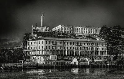 Approaching Alcatraz Island In Black And White Poster by Jennifer Rondinelli Reilly - Fine Art Photography