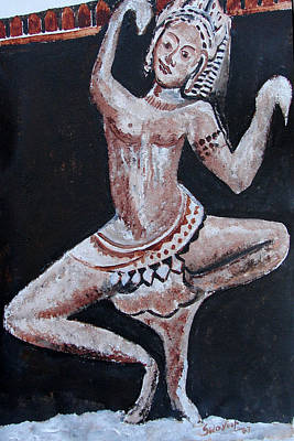 Poster featuring the painting Apsara-2 by Anand Swaroop Manchiraju
