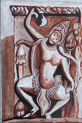 Poster featuring the painting Apsara-3 by Anand Swaroop Manchiraju