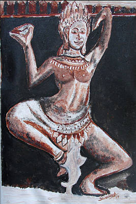 Poster featuring the painting Apsara Dancing by Anand Swaroop Manchiraju
