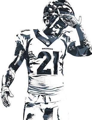 Aqib Talib Denver Broncos Pixel Art Poster by Joe Hamilton