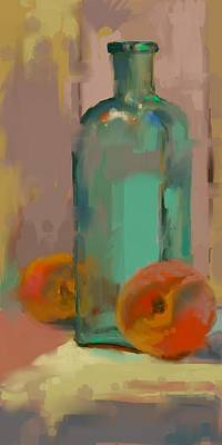 Aqua Bottle Poster by Donna Shortt