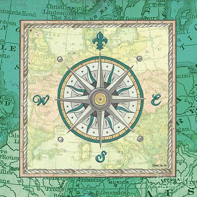 Aqua Maritime Compass Poster by Debbie DeWitt