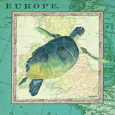 Aqua Maritime Sea Turtle Poster by Debbie DeWitt