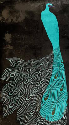 Aqua Peacock Art Nouveau Poster