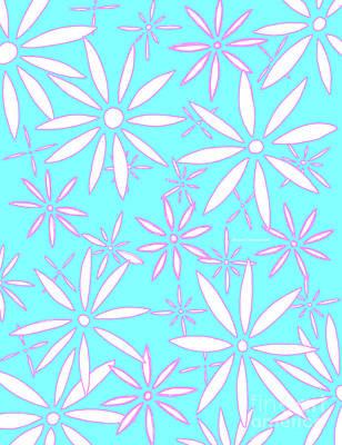 Aqua Pink Quartz Daisies Modern Floral Pattern By Megan Duncanson Poster