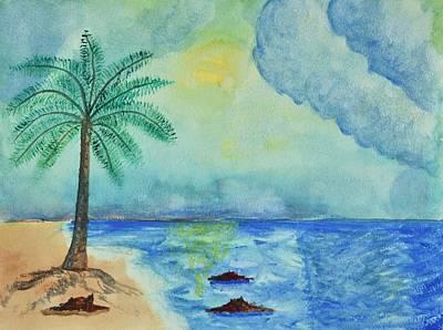 Aqua Sky Ocean Scene Poster by Linda Brody
