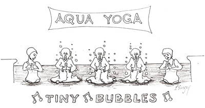 Poster featuring the drawing Aqua Yoga by R  Allen Swezey