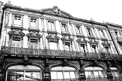Aquitaine Art Nouveau Windows Bw Poster by Georgia Fowler