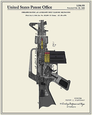 Ar-15 Semi-automatic Rifle Patent Poster by Finlay McNevin