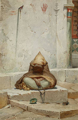 Arab Mendicant In Meditation Poster by Charles Camino