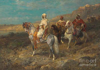 Arab On A White Horse Poster by Adolf Schreyer