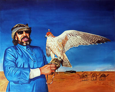 Arab With An Portrait Eagle  Poster by Arun Sivaprasad