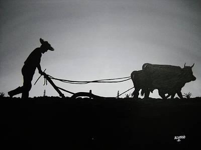 Arando Con Bueyes Poster by Edwin Alverio