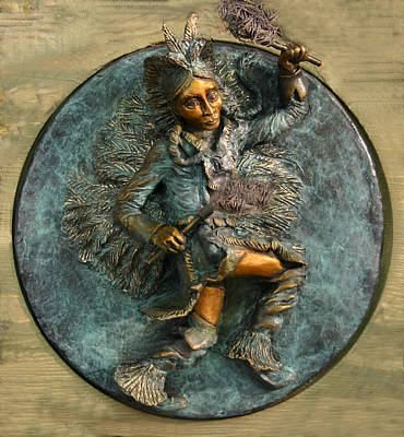 Poster featuring the relief Arapaho Dancer From Snowy Range Life  by Dawn Senior-Trask