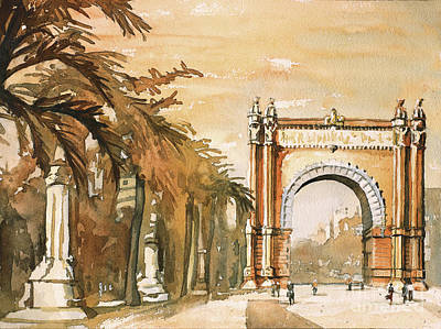 Poster featuring the painting Arch- Barcelona, Spain by Ryan Fox