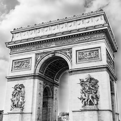 Arch Of Triumph - Paris - Black And White Poster by Nila Newsom