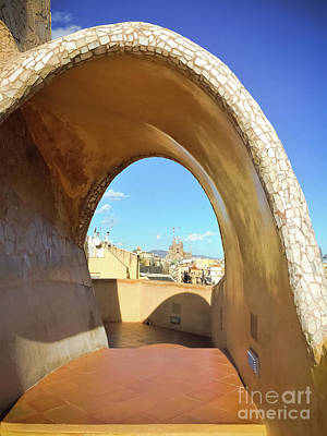 Poster featuring the photograph Arch On The Rooftop Of The Casa Mila by Colleen Kammerer