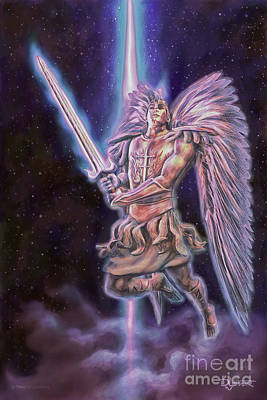 Poster featuring the painting Archangel Michael - Starstuff by Dave Luebbert