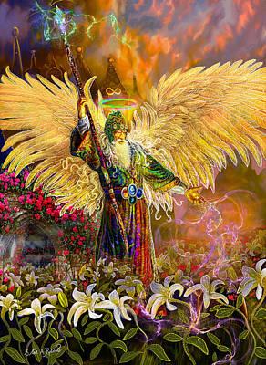 Archangel Raziel-angel Tarot Card Poster by Steve Roberts