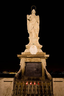 Archangel Saint Raphael Statue At Night In Cordoba Poster