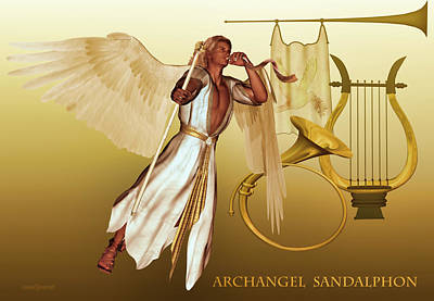 Poster featuring the digital art Archangel Sandalphon by Valerie Anne Kelly