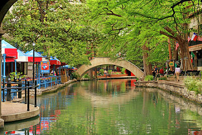 Poster featuring the photograph Arched Bridge Reflection - San Antonio by Art Block Collections