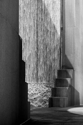 Architectural Waterfall In Black And White Poster