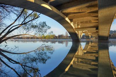 Architecture Of Austin Bridges Over Lady Bird Lake Poster by Rob Greebon