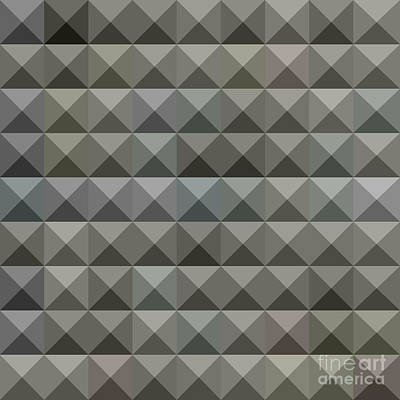 Argent Grey Abstract Low Polygon Background Poster