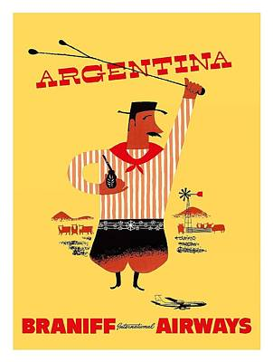 Argentina Gaucho Vintage Airline Travel Poster Poster by Retro Graphics