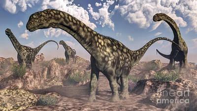 Argentinosaurus Dinosaurs Walking Poster