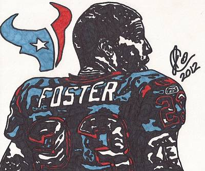 Poster featuring the drawing Arian Foster 2 by Jeremiah Colley