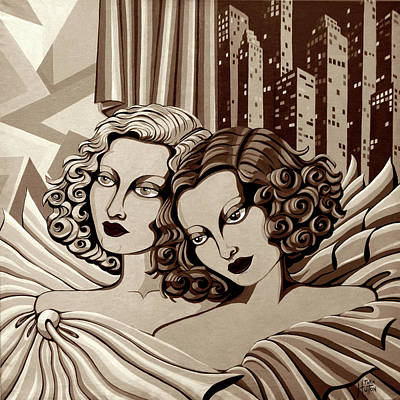 Arielle And Gabrielle In Sepia Tone Poster by Tara Hutton