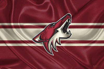 Arizona Coyotes - 3 D Badge Over Silk Flag Poster